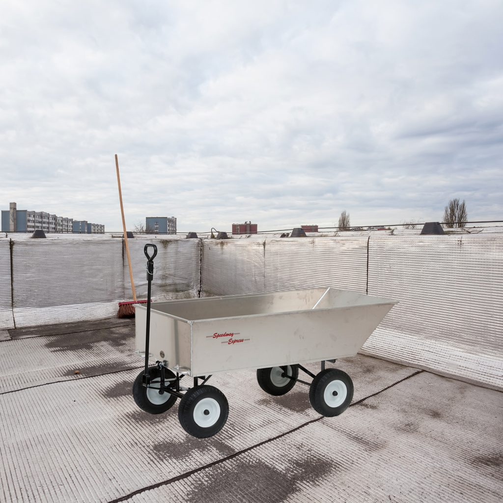 commerical roofing work wagon on roof
