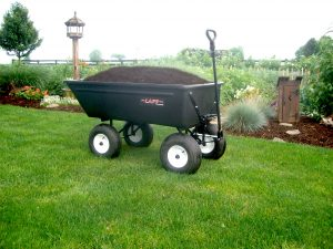 yard and garden cart hauling mulch