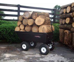 dump cart hauling wood