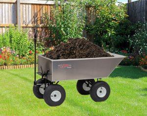 garden dump cart with mulch