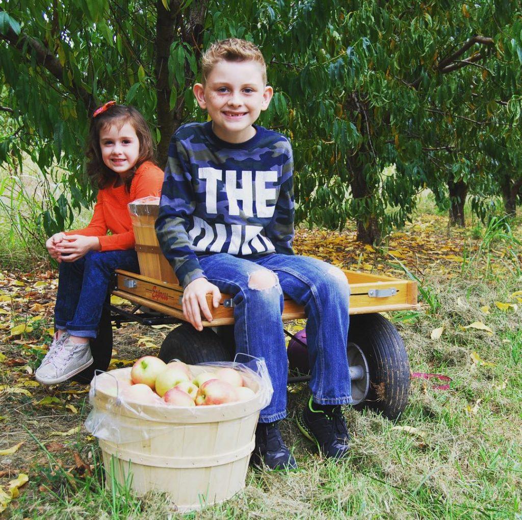 kids on farm wagon